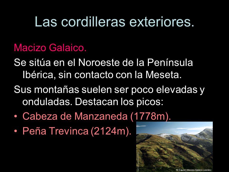 Las cordilleras exteriores. Macizo Galaico. Cabeza de Manzaneda (1778m). Peña de Trevinca (2124m).