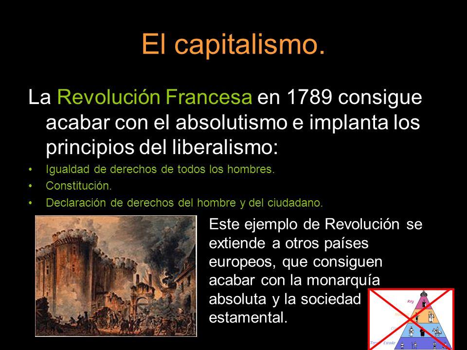 El capitalismo. La Revolución Francesa en 1789 consigue acabar con el absolutismo e implanta los principios del liberalismo: Igualdad de derechos de t