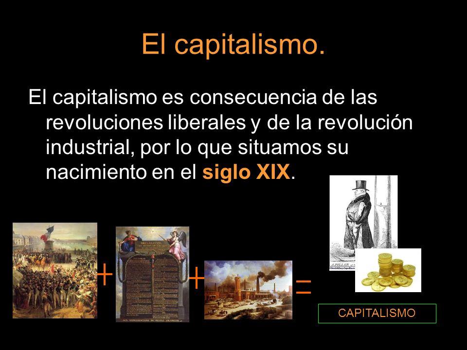 El capitalismo. El capitalismo es consecuencia de las revoluciones liberales y de la revolución industrial, por lo que situamos su nacimiento en el si
