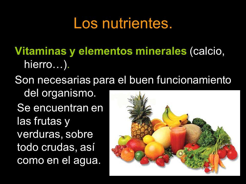 Los nutrientes. Vitaminas y elementos minerales (calcio, hierro…). Son necesarias para el buen funcionamiento del organismo. Se encuentran en las frut
