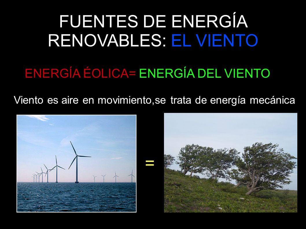 FUENTES DE ENERGÍA RENOVABLES: EL VIENTO El viento se utiliza para mover embarcaciones a vela,también para generar corriente eléctrica gracias a los aerogeneradores.