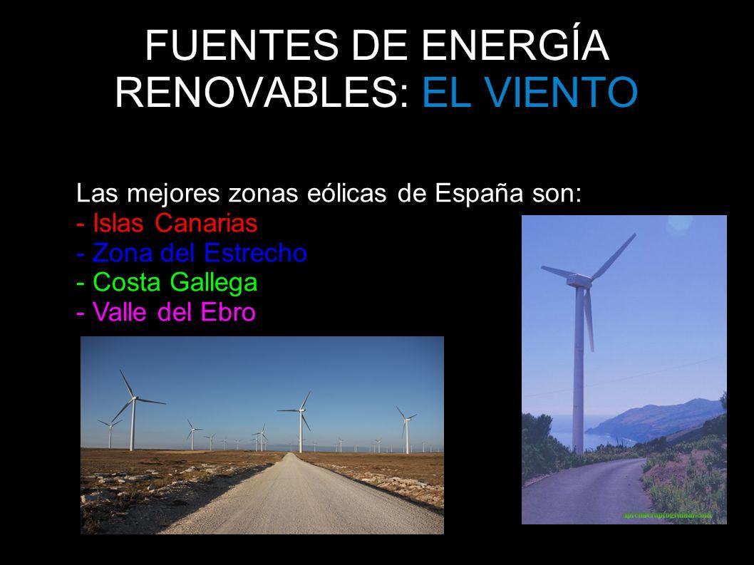 FUENTES DE ENERGÍA RENOVABLES: EL VIENTO Las mejores zonas eólicas de España son: - Islas Canarias - Zona del Estrecho - Costa Gallega - Valle del Ebr