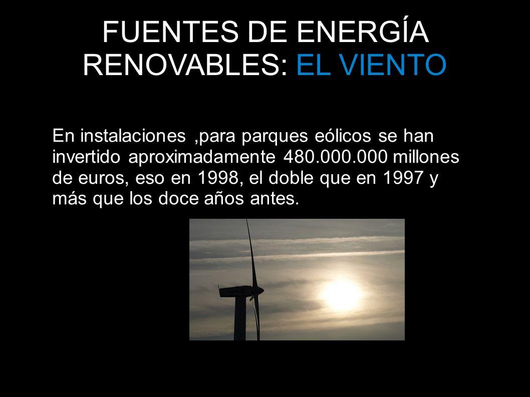 FUENTES DE ENERGÍA RENOVABLES: EL VIENTO En instalaciones,para parques eólicos se han invertido aproximadamente 480.000.000 millones de euros, eso en