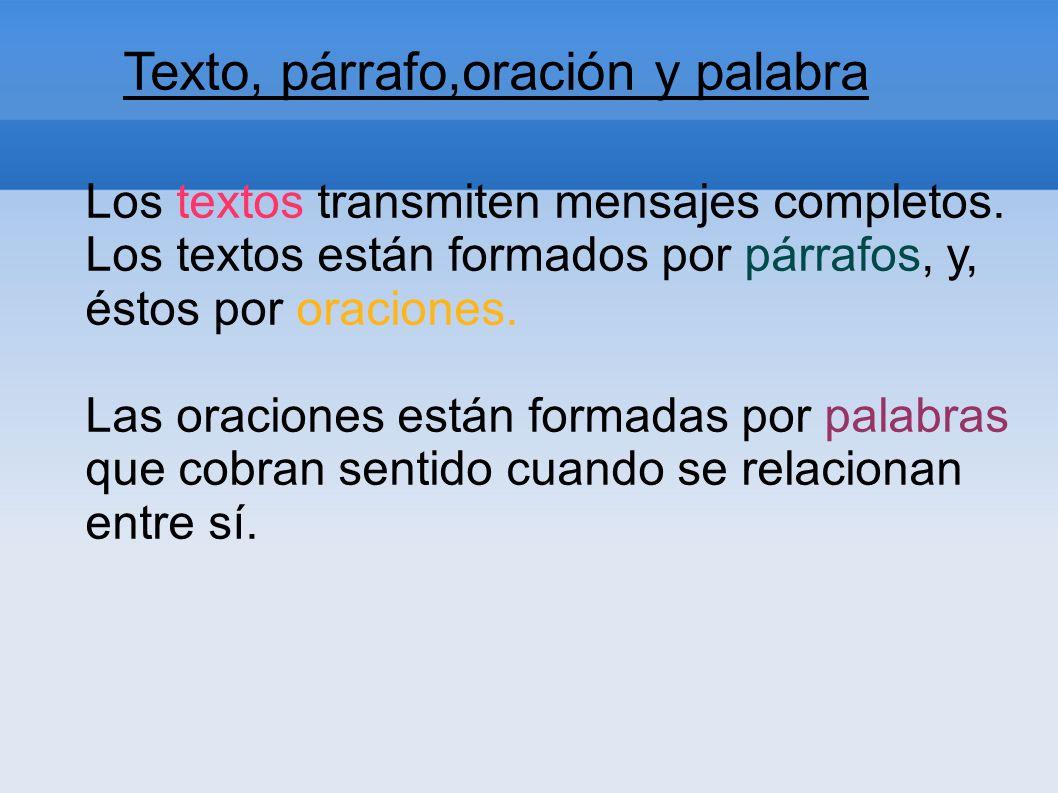 Texto, párrafo,oración y palabra Los textos transmiten mensajes completos. Los textos están formados por párrafos, y, éstos por oraciones. Las oracion