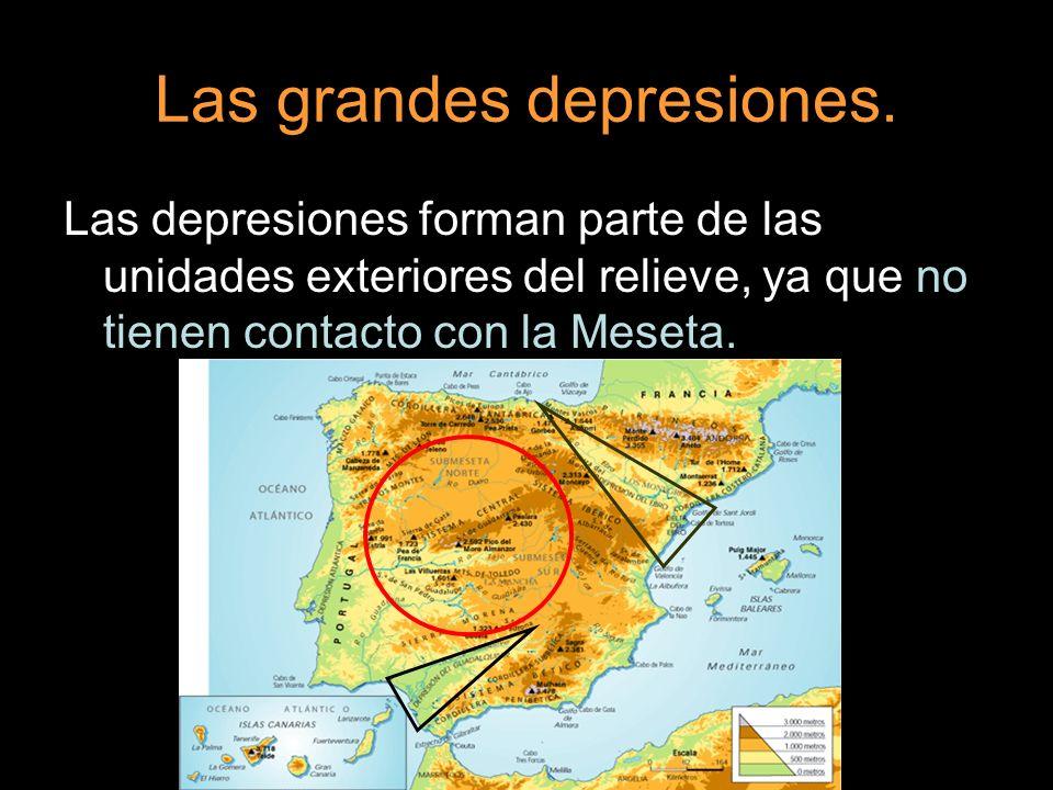 Las grandes depresiones. Las depresiones forman parte de las unidades exteriores del relieve, ya que no tienen contacto con la Meseta.