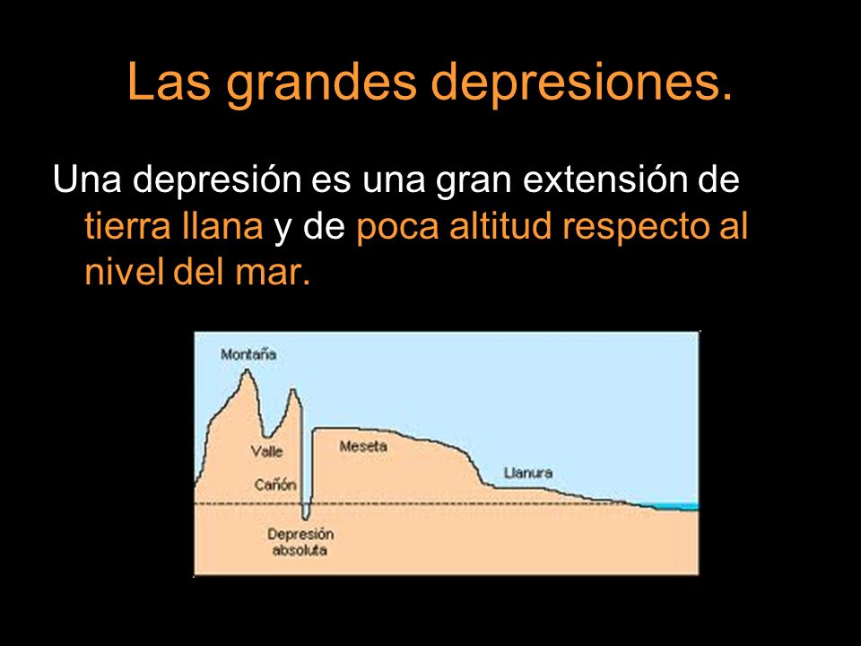 Las grandes depresiones. Una depresión es una gran extensión de tierra llana y de poca altitud respecto al nivel del mar.