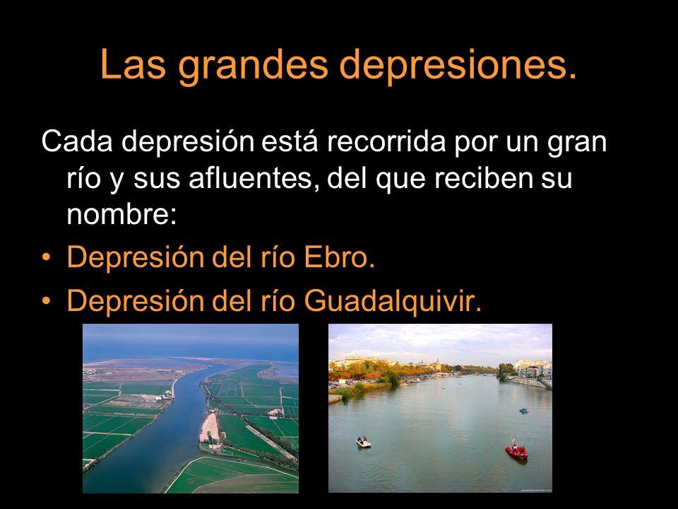 Cada depresión está recorrida por un gran río y sus afluentes, del que reciben su nombre: Depresión del río Ebro. Depresión del río Guadalquivir.