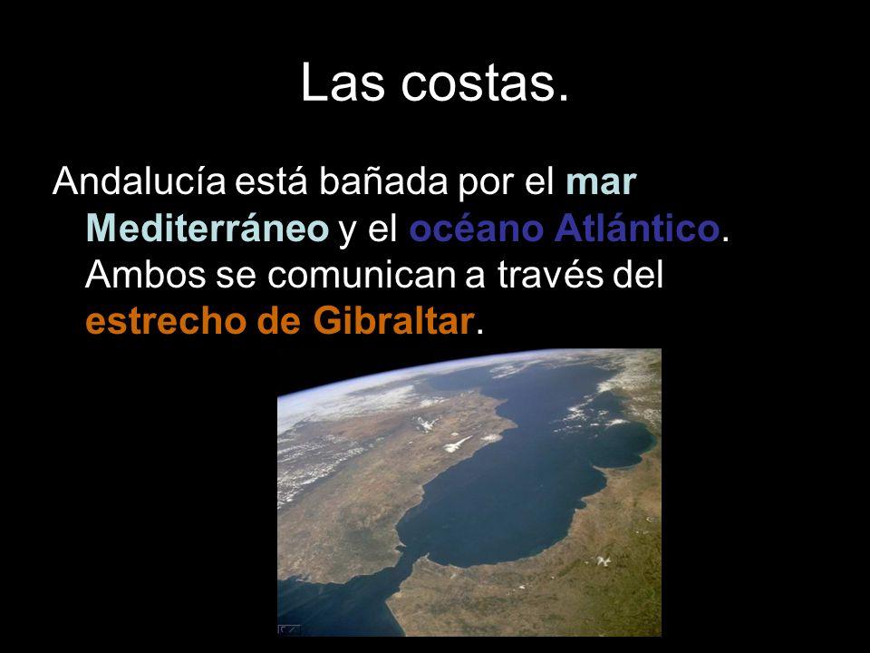 Las costas. Andalucía está bañada por el mar Mediterráneo y el océano Atlántico. Ambos se comunican a través del estrecho de Gibraltar.