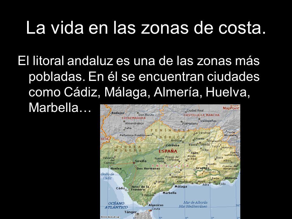 La vida en las zonas de costa. El litoral andaluz es una de las zonas más pobladas. En él se encuentran ciudades como Cádiz, Málaga, Almería, Huelva,