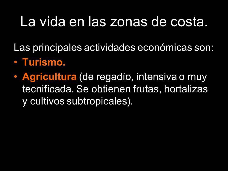 La vida en las zonas de costa. Las principales actividades económicas son: Turismo. Agricultura (de regadío, intensiva o muy tecnificada. Se obtienen