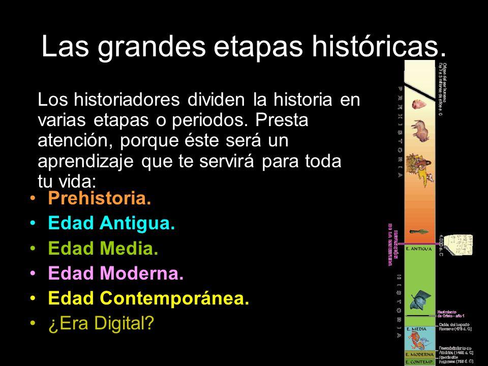 Las grandes etapas históricas.Prehistoria. Edad Antigua.