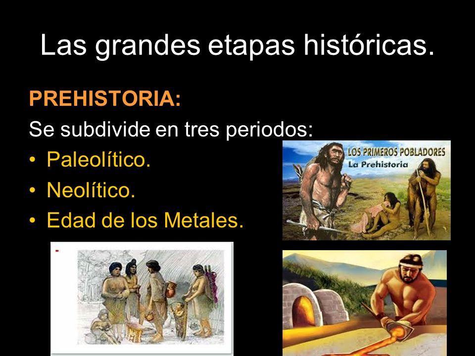 Las grandes etapas históricas.PREHISTORIA: Se subdivide en tres periodos: Paleolítico.