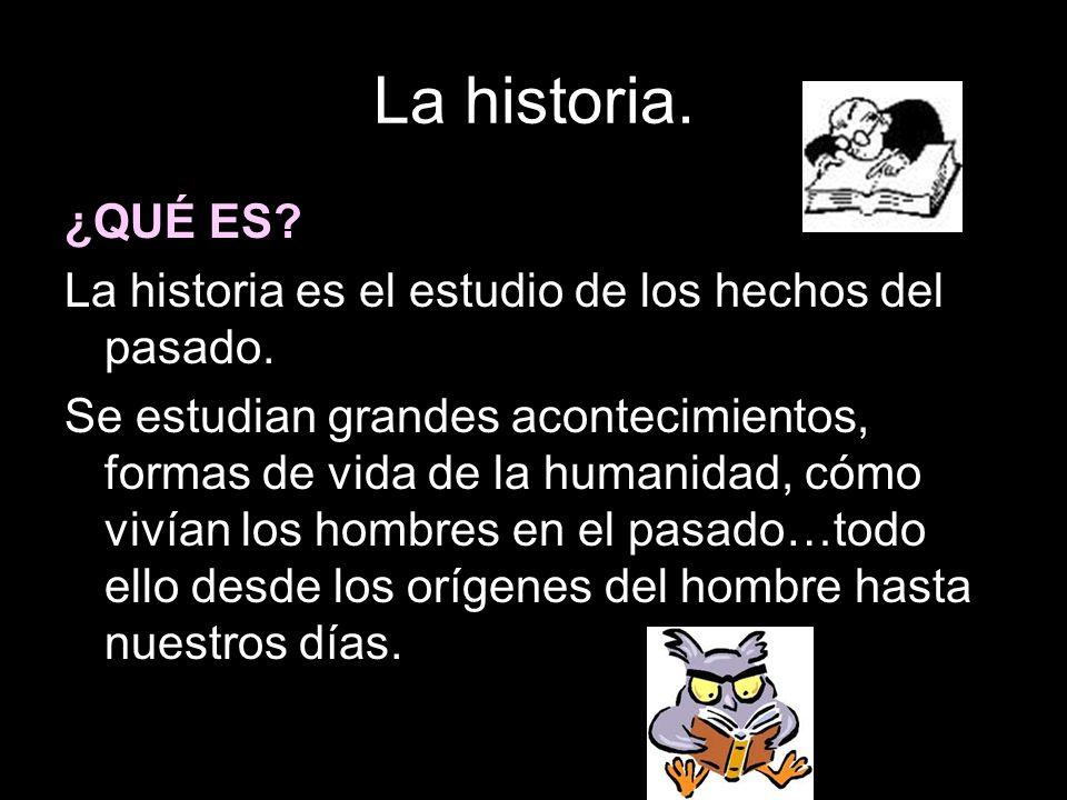 La historia.¿QUÉ ES. La historia es el estudio de los hechos del pasado.