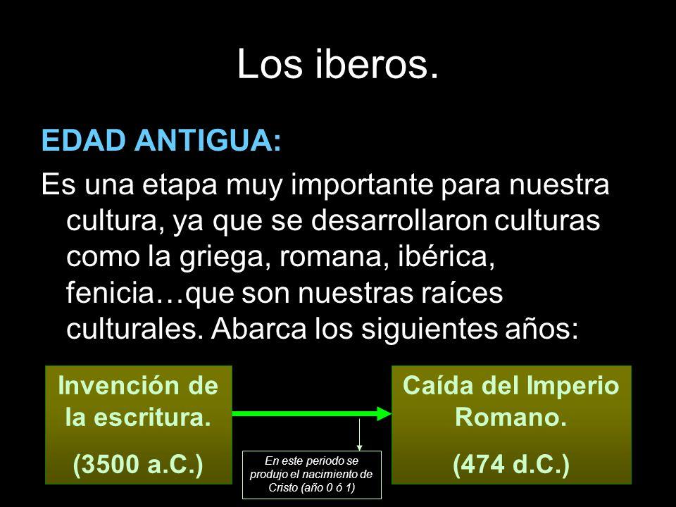 Los iberos. EDAD ANTIGUA: Es una etapa muy importante para nuestra cultura, ya que se desarrollaron culturas como la griega, romana, ibérica, fenicia…