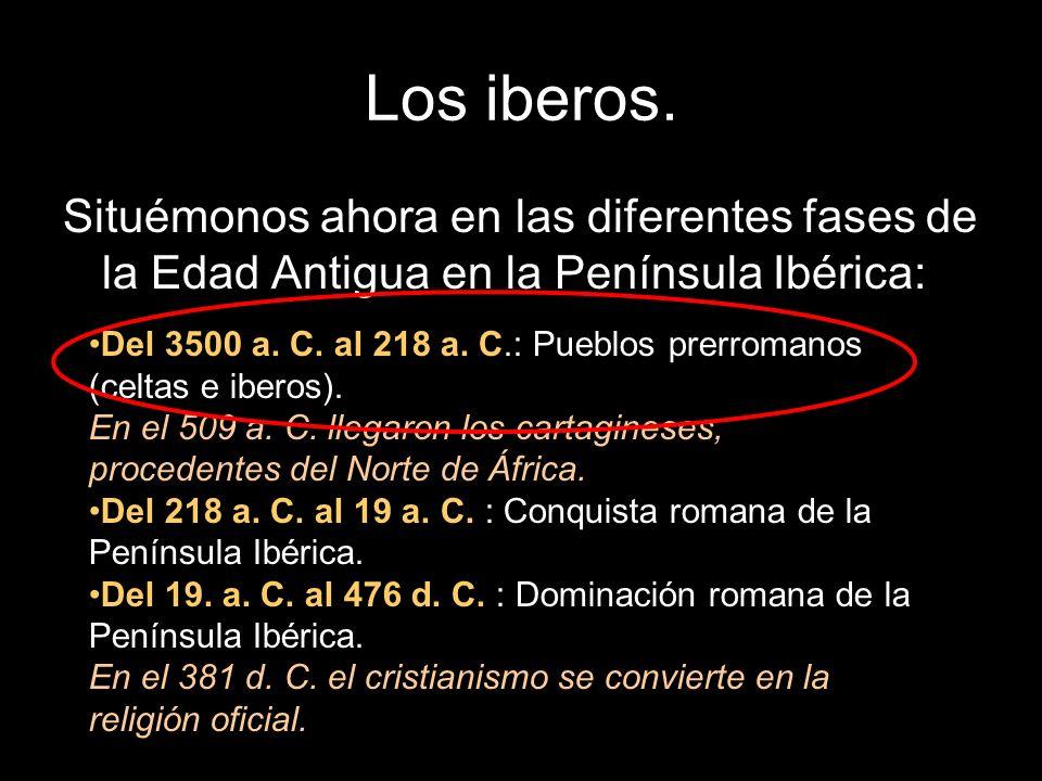 Los iberos. Situémonos ahora en las diferentes fases de la Edad Antigua en la Península Ibérica: Del 3500 a. C. al 218 a. C.: Pueblos prerromanos (cel