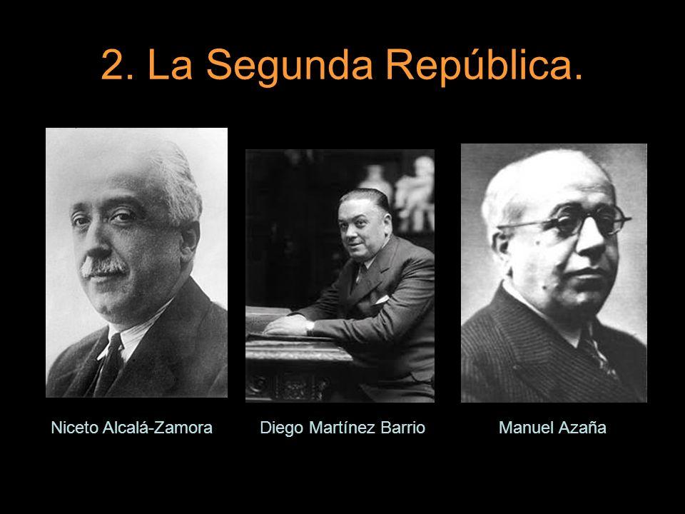 2. La Segunda República. Niceto Alcalá-ZamoraDiego Martínez BarrioManuel Azaña