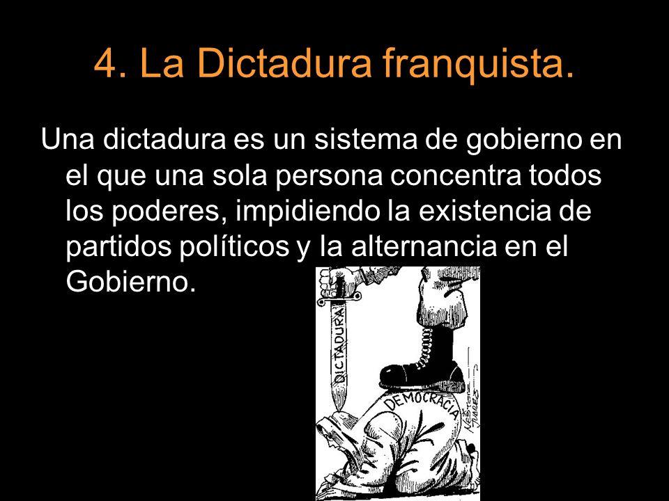 4. La Dictadura franquista. Una dictadura es un sistema de gobierno en el que una sola persona concentra todos los poderes, impidiendo la existencia d