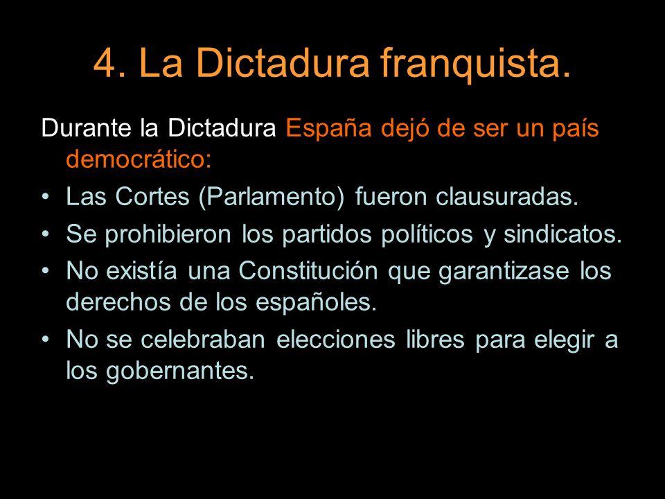 4. La Dictadura franquista. Durante la Dictadura España dejó de ser un país democrático: Las Cortes (Parlamento) fueron clausuradas. Se prohibieron lo