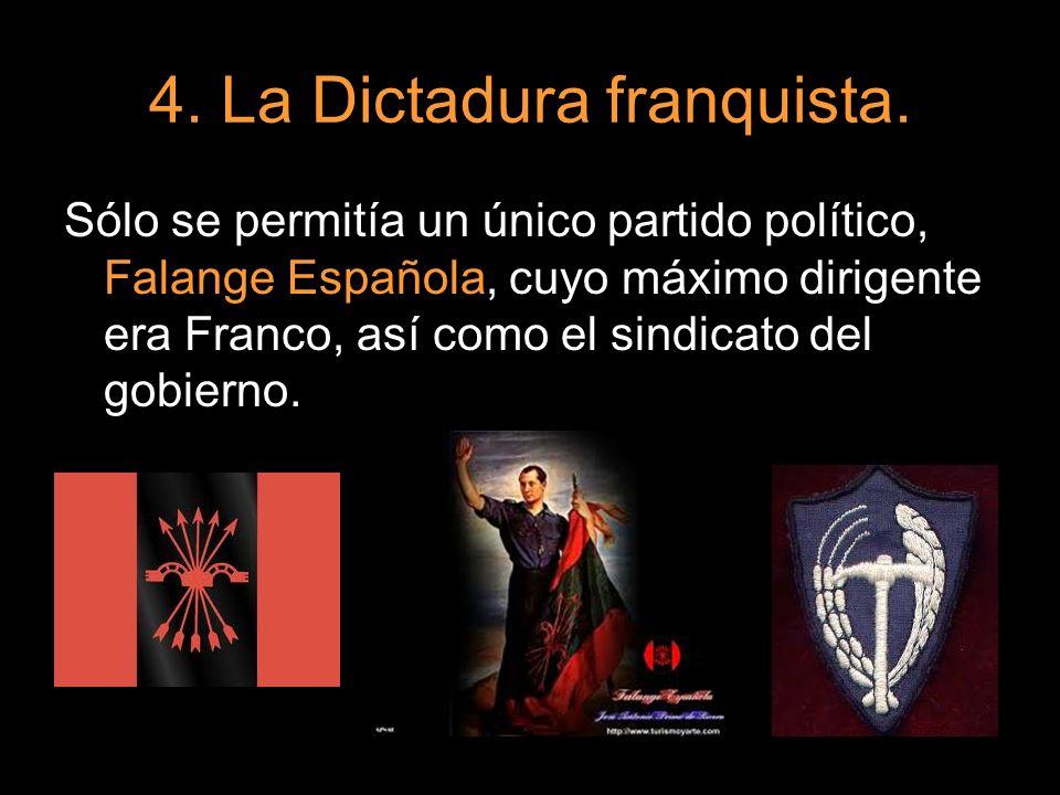 Sólo se permitía un único partido político, Falange Española, cuyo máximo dirigente era Franco, así como el sindicato del gobierno.