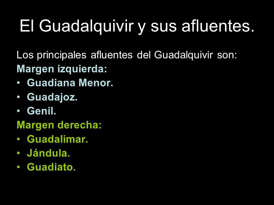 Los principales afluentes del Guadalquivir son: Margen izquierda: Guadiana Menor. Guadajoz. Genil. Margen derecha: Guadalimar. Jándula. Guadiato.