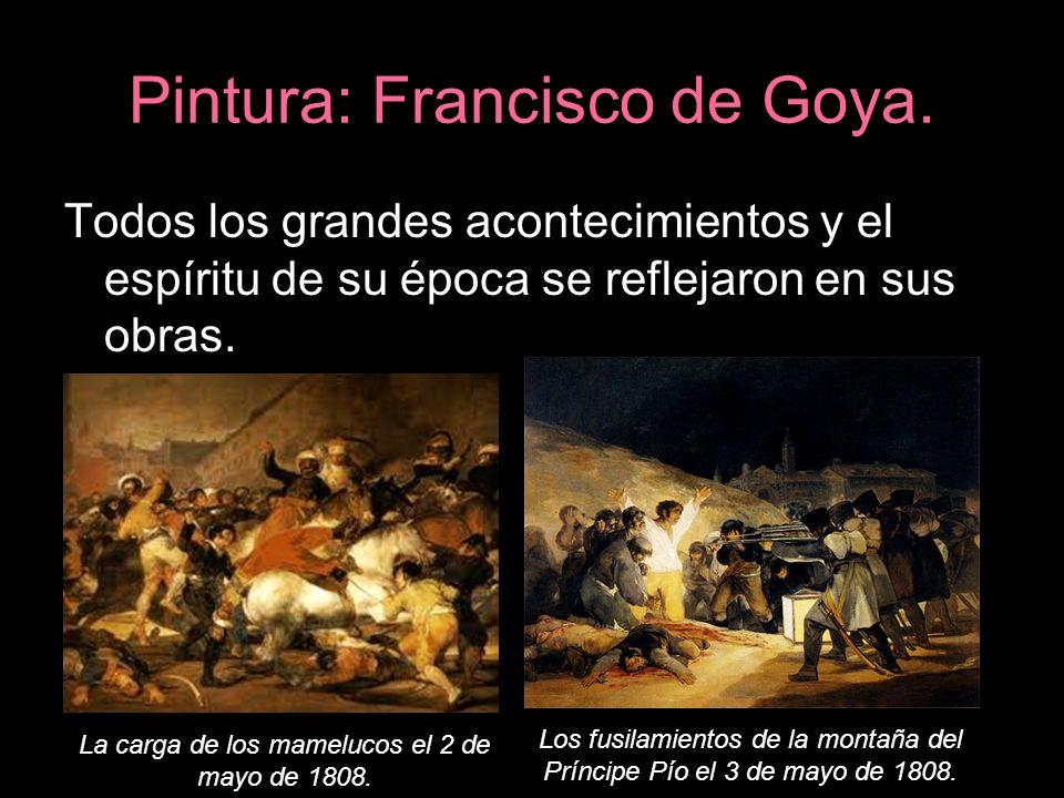 Pintura: Francisco de Goya. Todos los grandes acontecimientos y el espíritu de su época se reflejaron en sus obras. La carga de los mamelucos el 2 de