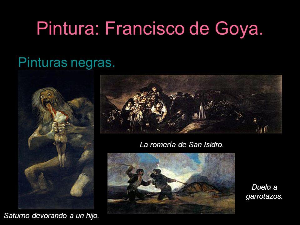 Pintura: Francisco de Goya. Pinturas negras. Saturno devorando a un hijo. La romería de San Isidro. Duelo a garrotazos.