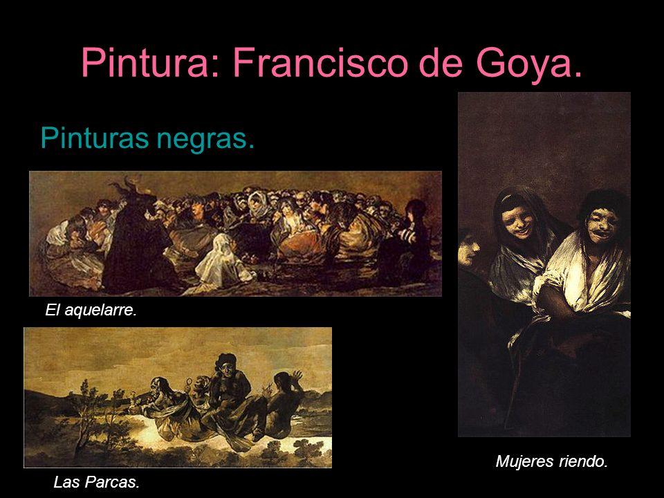 Pintura: Francisco de Goya. Pinturas negras. El aquelarre. Las Parcas. Mujeres riendo.