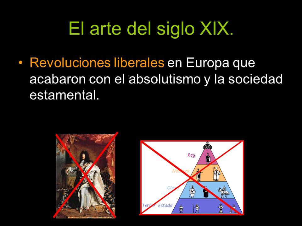 El arte del siglo XIX. Revoluciones liberales en Europa que acabaron con el absolutismo y la sociedad estamental.