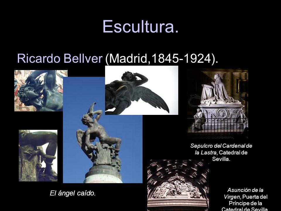 Escultura. Ricardo Bellver (Madrid,1845-1924). El ángel caído. Sepulcro del Cardenal de la Lastra, Catedral de Sevilla. Asunción de la Virgen, Puerta