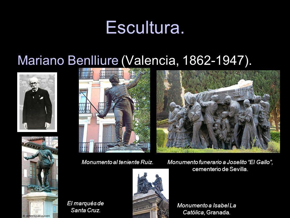 Escultura. Mariano Benlliure (Valencia, 1862-1947). Monumento al teniente Ruiz.Monumento funerario a Joselito El Gallo, cementerio de Sevilla. El marq