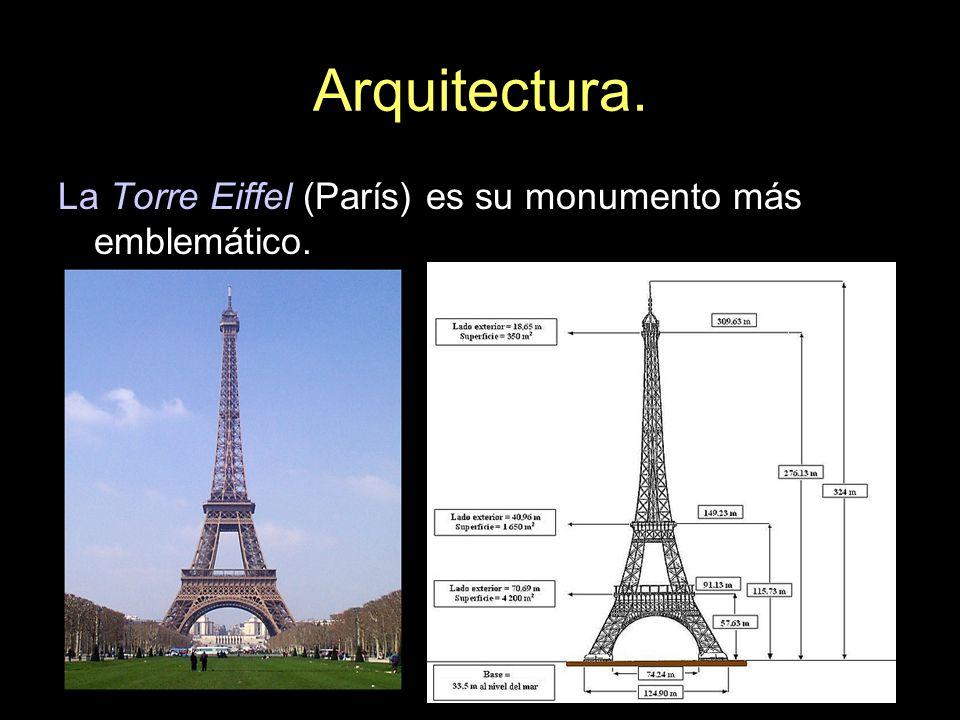 La Torre Eiffel (París) es su monumento más emblemático.