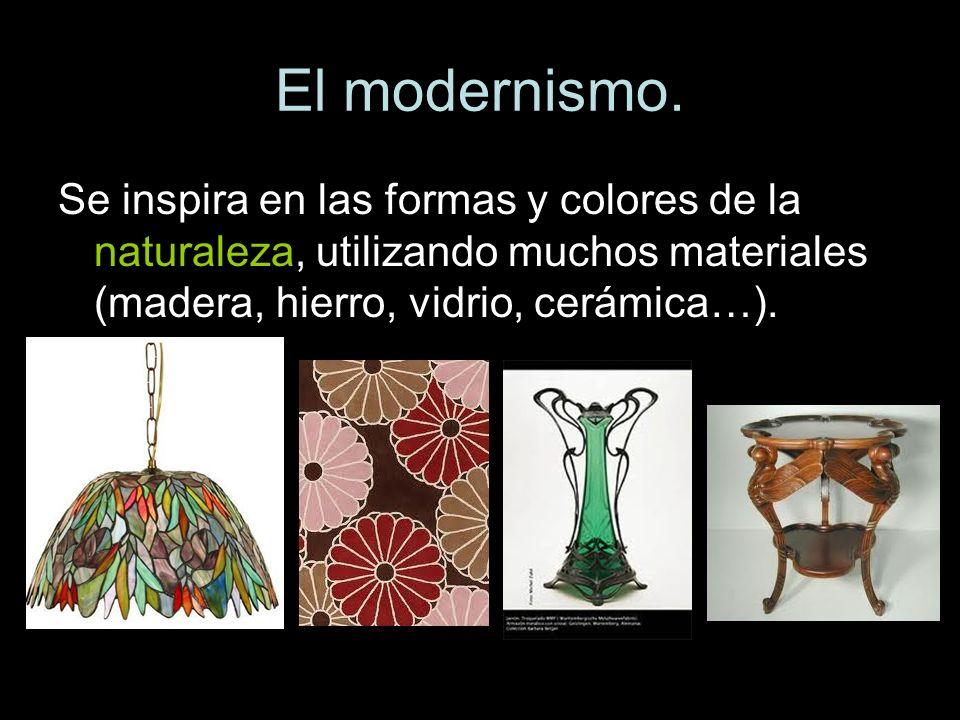 Se inspira en las formas y colores de la naturaleza, utilizando muchos materiales (madera, hierro, vidrio, cerámica…).