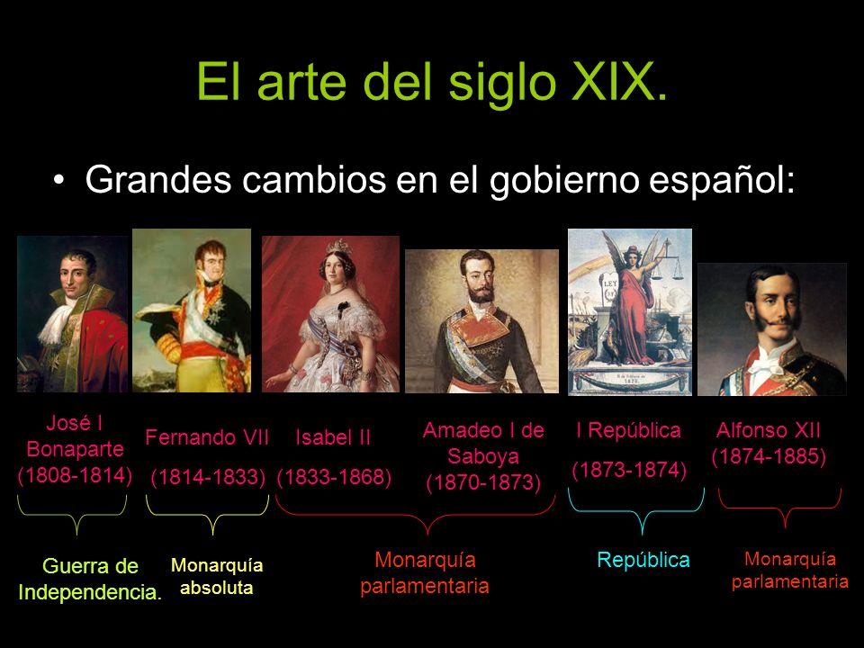 El arte del siglo XIX. Grandes cambios en el gobierno español: José I Bonaparte (1808-1814) Fernando VII (1814-1833) Isabel II (1833-1868) Amadeo I de