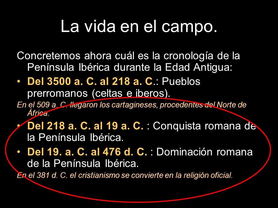 La vida en el campo. Concretemos ahora cuál es la cronología de la Península Ibérica durante la Edad Antigua: Del 3500 a. C. al 218 a. C.: Pueblos pre