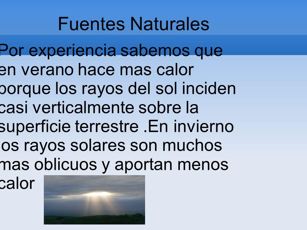 Fuentes Naturales Por experiencia sabemos que en verano hace mas calor porque los rayos del sol inciden casi verticalmente sobre la superficie terrest