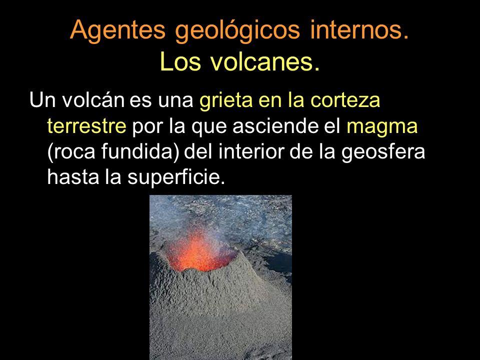 Agentes geológicos internos. Los volcanes. Un volcán es una grieta en la corteza terrestre por la que asciende el magma (roca fundida) del interior de