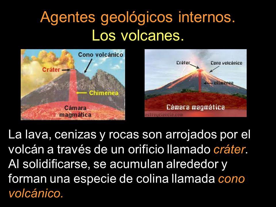La lava, cenizas y rocas son arrojados por el volcán a través de un orificio llamado cráter. Al solidificarse, se acumulan alrededor y forman una espe