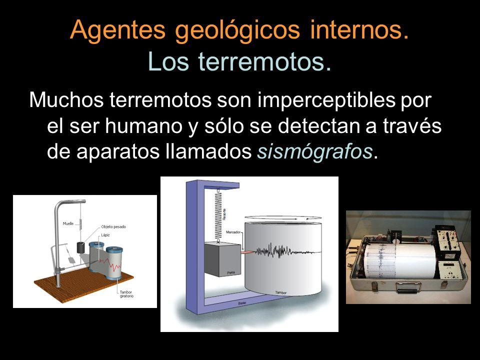 Agentes geológicos internos. Los terremotos. Muchos terremotos son imperceptibles por el ser humano y sólo se detectan a través de aparatos llamados s