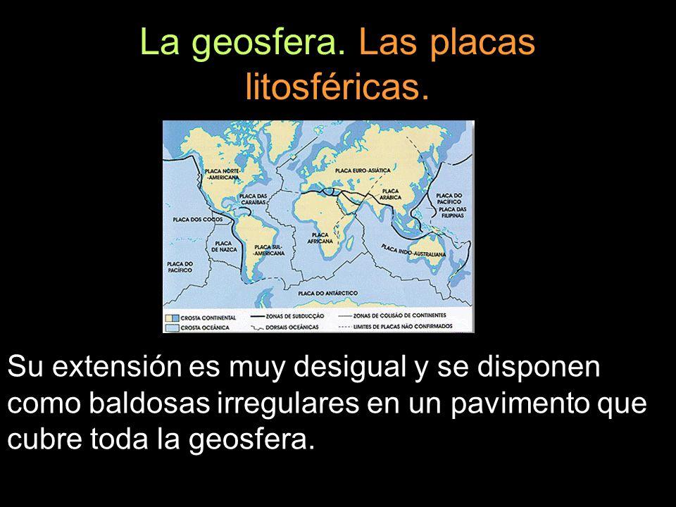 La geosfera. Las placas litosféricas. Su extensión es muy desigual y se disponen como baldosas irregulares en un pavimento que cubre toda la geosfera.