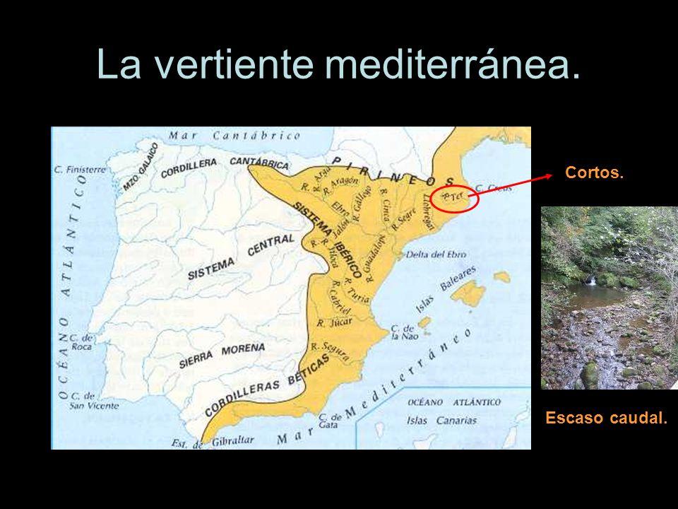 La vertiente mediterránea. Cortos. Escaso caudal.