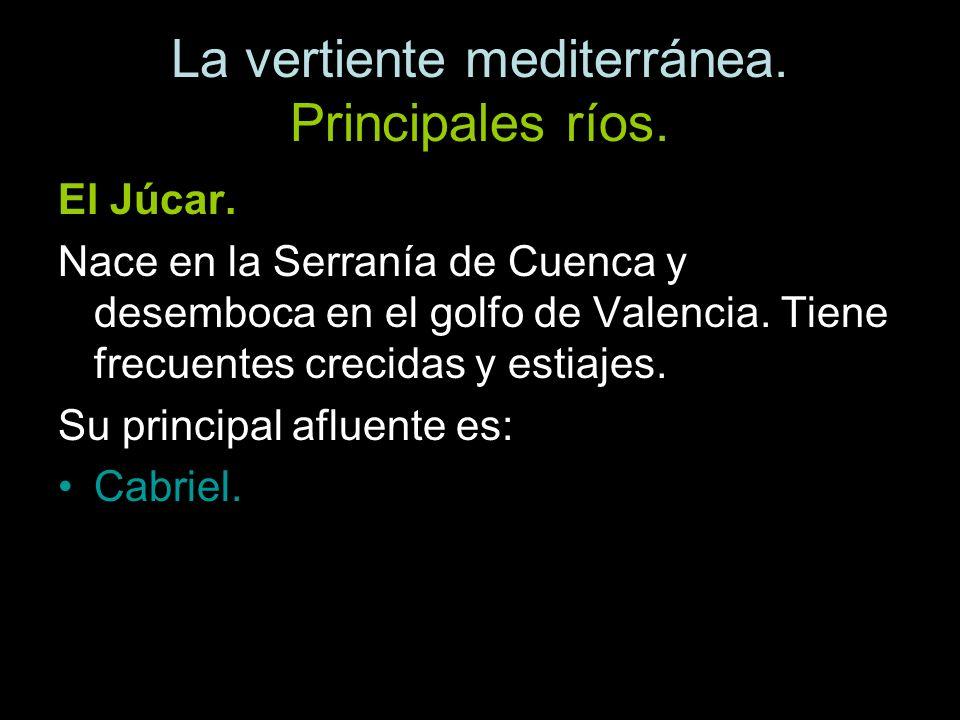 El Júcar. Nace en la Serranía de Cuenca y desemboca en el golfo de Valencia. Tiene frecuentes crecidas y estiajes. Su principal afluente es: Cabriel.