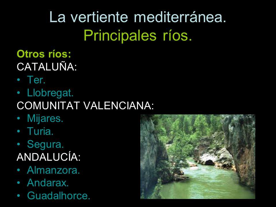Otros ríos: CATALUÑA: Ter. Llobregat. COMUNITAT VALENCIANA: Mijares. Turia. Segura. ANDALUCÍA: Almanzora. Andarax. Guadalhorce.