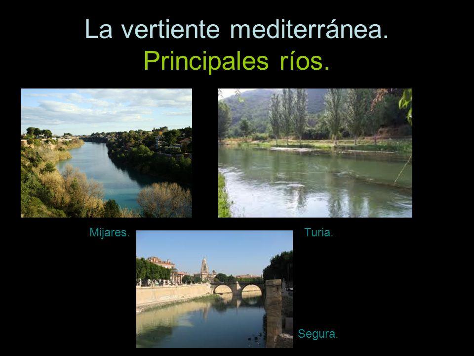 La vertiente mediterránea. Principales ríos. Mijares.Turia. Segura.