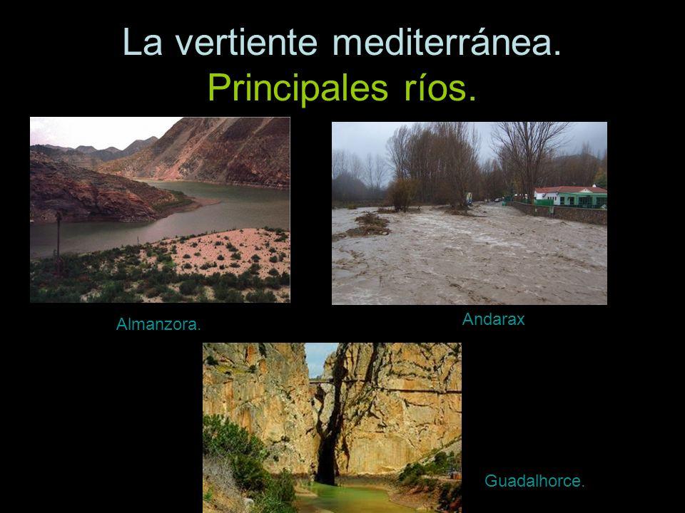 La vertiente mediterránea. Principales ríos. Almanzora. Andarax Guadalhorce.