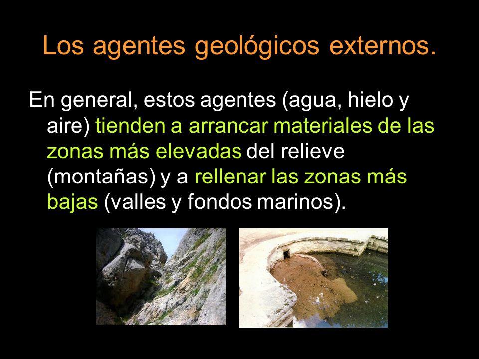 Los agentes geológicos externos. En general, estos agentes (agua, hielo y aire) tienden a arrancar materiales de las zonas más elevadas del relieve (m