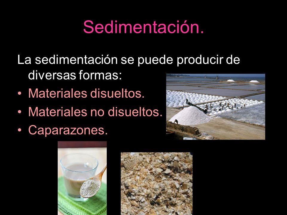 La sedimentación se puede producir de diversas formas: Materiales disueltos. Materiales no disueltos. Caparazones.