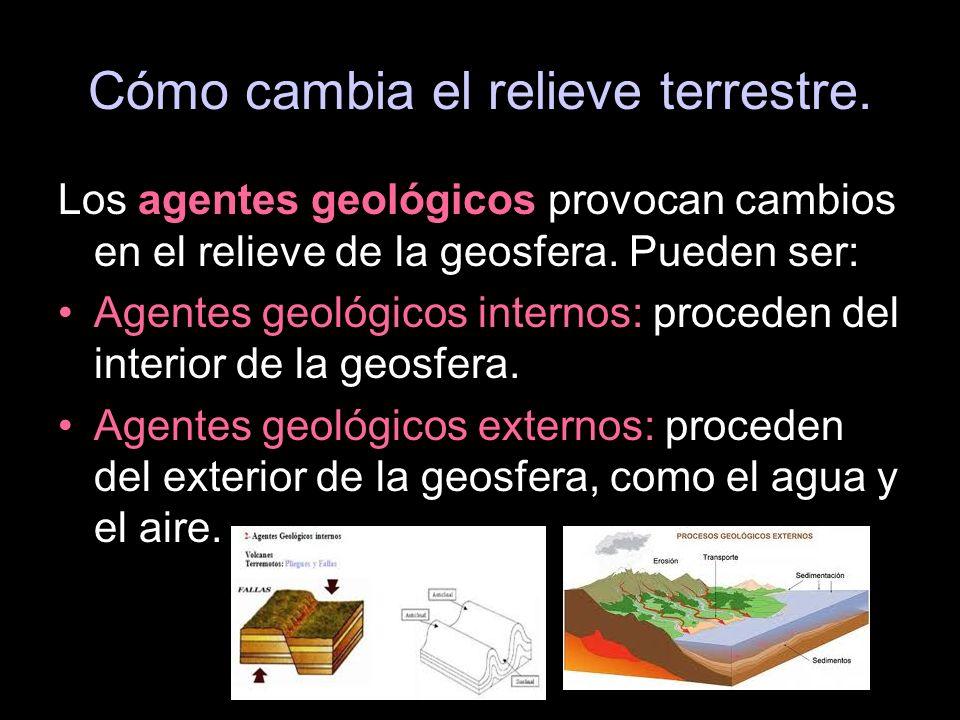 Los agentes geológicos provocan cambios en el relieve de la geosfera. Pueden ser: Agentes geológicos internos: proceden del interior de la geosfera. A
