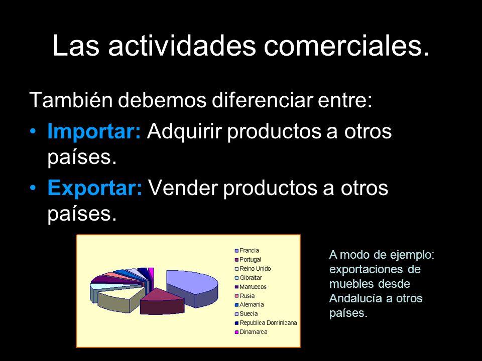 Las actividades comerciales. También debemos diferenciar entre: Importar: Adquirir productos a otros países. Exportar: Vender productos a otros países