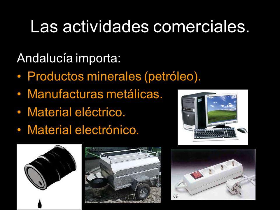 Andalucía importa: Productos minerales (petróleo). Manufacturas metálicas. Material eléctrico. Material electrónico.