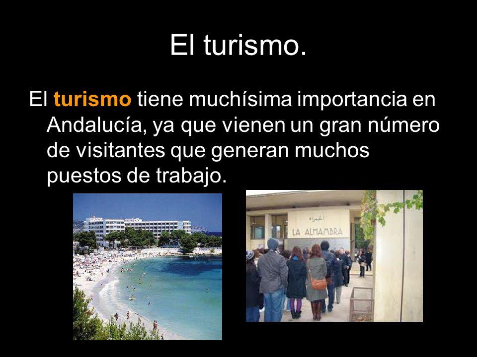 El turismo. El turismo tiene muchísima importancia en Andalucía, ya que vienen un gran número de visitantes que generan muchos puestos de trabajo.